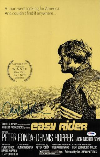Jack Nicholson Signed Easy Rider 11 X 17 1/2 Movie Poster Psa Coa P45715