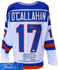 Jack O'Callahan Signed Miracle on Ice Stat Olympic Hockey Jersey 1980 Gold JSA