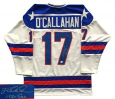 Jack O'Callahan Signed USA Miracle On Ice Custom Hockey Jersey 1980 Gold JSA