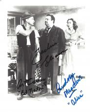"""JACKIE GLEASON as RALPH KRAMDEN, ART CARNEY as ED NORTON, and AUDREY MEADOWS as ALICE KRUMDEN in """"THE HONEYMOONERS"""" Signed 8x10 B/W Photo (JACKIE Passed Away 1987, ART 2003, and AUDREY 1996)"""