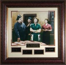 Jackie Gleason unsigned The Honeymooners 31x32 Cast Vintage Color Photo Engraved Signature Series Leather Framed