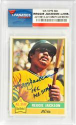 Reggie Jackson Oakland Athletics Autographed 1976 Topps #500 Card with 14 X All Star Inscription - Mounted Memories