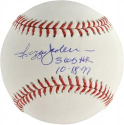 Reggie Jackson New York Yankees Autographed Baseball with 3 WS HR Inscription - Mounted Memories