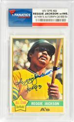 Reggie Jackson Oakland Athletics Autographed 1976 Topps #500 Card with HOF 93 Inscription