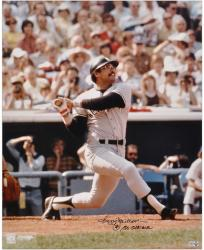 Reggie Jackson New York Yankees Autographed 16'' x 20'' Looking Up Photograph with Mr. October Inscription - Mounted Memories