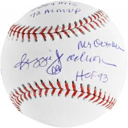 Reggie Jackson New York Yankees Autographed Baseball with Multiple Inscription-Limited Edition of 12 - Mounted Memories
