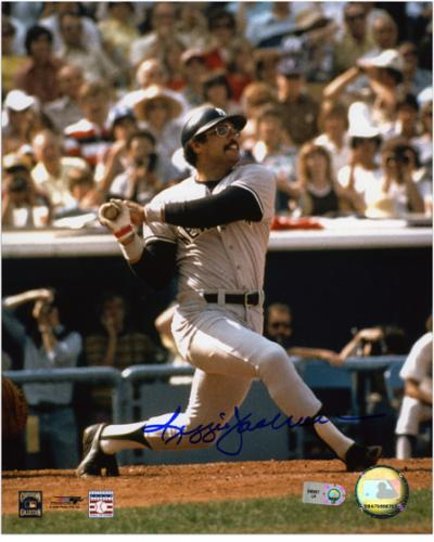 "Reggie Jackson New York Yankees Autographed 8"" x 10"" Hit Photograph"