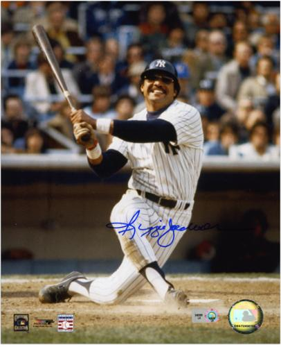 "Reggie Jackson New York Yankees Autographed 8"" x 10"" Watching Hit Photograph"