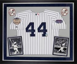 Reggie Jackson New York Yankees Autographed Deluxe Framed Majestic Jersey with Mr. October Inscription