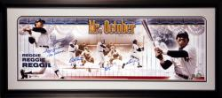 "Reggie Jackson New York Yankees - 3 Pitchers from 1977 World Series - Framed Autographed Panoramic with ""Mr. October"" Inscription - Mounted Memories"
