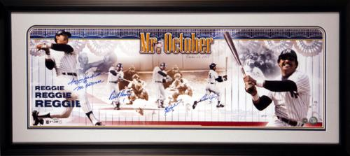 "Reggie Jackson New York Yankees - 3 Pitchers from 1977 World Series - Framed Autographed Panoramic with ""Mr. October"" Inscription"
