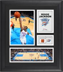 Reggie Jackson Oklahoma City Thunder Framed 15'' x 17'' Collage with Team-Used Ball - Mounted Memories