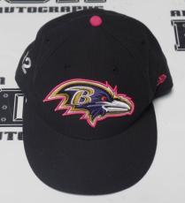 Jacoby Jones Game Used Worn 2014 Ravens Football Custom Pink NFL Sideline Hat 12