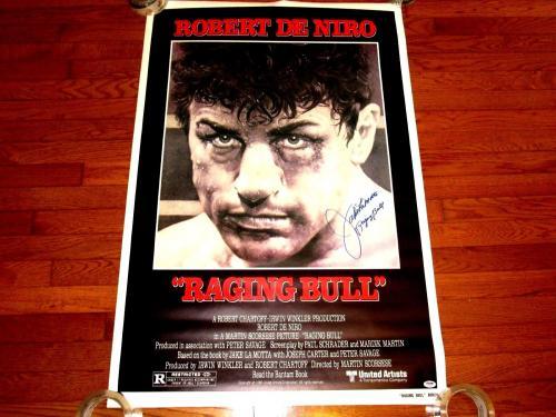 Jake Lamotta Raging Bull Robert De Niro Hof Boxing Movie Signed Auto Poster Psa