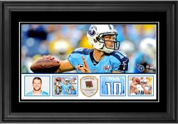 "Jake Locker Tennessee Titans Framed 10"" x 18""  Panoramic with Piece of Game-Used Football - Limited Edition of 250"