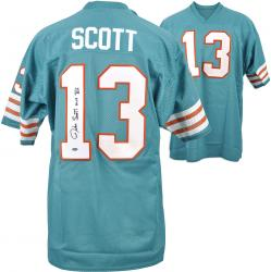 Jake Scott Miami Dolphins Autographed Teal Blue Jersey with MVP VII Inscription