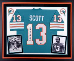 Jake Scott Miami Dolphins Autographed Deluxe Framed Teal Jersey