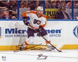 "Jakub Voracek Philadelphia Flyers Autographed White Jersey Stopping 8"" x 10"" Photograph"