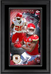 Jamaal Charles Kansas City Chiefs 10'' x 18'' Vertical Framed Photograph with Piece of Game-Used Football - Limited Edition of 250