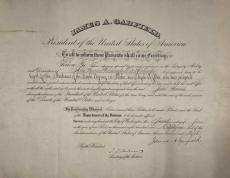 James A Garfield Signed Autographed 1881 President Document Beckett BAS Graded 9