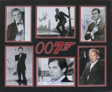 James Bond 007 Signed Matted Display Connery/Moore/Craig/Brosnan/Dalton PSA/DNA