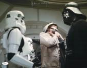 "James Earl Jones Autographed 11"" x 14"" Star Wars Darth Vader Chocking Rebel Trooper Photograph Signed in Silver - JSA"