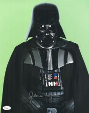 "James Earl Jones Autographed 11"" x 14"" Star Wars Darth Vader Facing Front Green Photograph Signed in Silver - JSA"