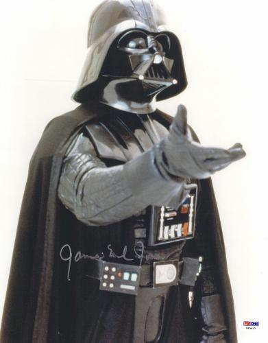 "James Earl Jones Autographed 11"" x 14"" Star Wars Darth Vader Raising Hand Photograph - PSA/DNA COA"