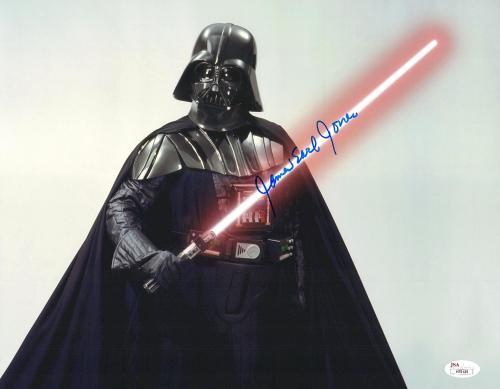 """James Earl Jones Autographed 11"""" x 14"""" Star Wars Darth Vader Saber Up Photograph Signed in Blue - JSA"""