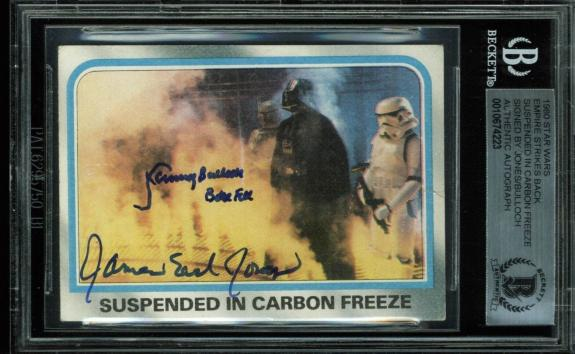 James Earl Jones & Jeremy Bulloch Signed 1980 Star Wars Card BAS Slabbed