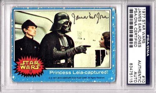 JAMES EARL JONES Signed STAR WARS Darth Vader 1977 Card SLAB PSA/DNA 83475115