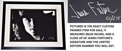 James Fortune Signed - Autographed Jim Morrison B+W Limited Edition Fine Art Giclee Lithograph 20x14 inch Photo Print - Black Custom Frame measures 24x30 inches - The DOORS Singer - Guaranteed to pass PSA or JSA