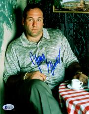"James Gandolfini Autographed 8"" x 10"" The Sopranos Sitting In Coffee Shop Photograph -BAS COA"