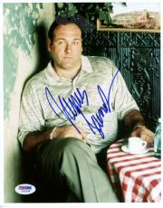 "James Gandolfini Autographed 8""x 10"" The Sopranos Sitting In Coffe Shop Photograph - PSA/DNA COA"