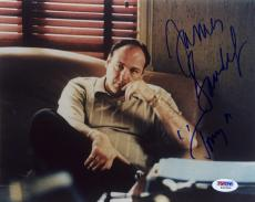 "James Gandolfini Autographed 8""x 10"" The Sopranos Sitting On Couch Horizontal Photograph With Tony Inscription- PSA/DNA COA"