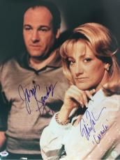 James Gandolfini & Edie Falco Signed 16x20 autographed Sopranos HBO auto Psa LOA