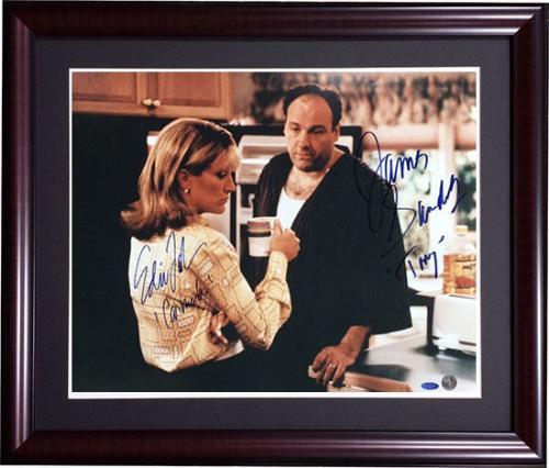 James Gandolfini & Edie Falco Signed Framed Insc. 16x20 Sopranos Photo Steiner