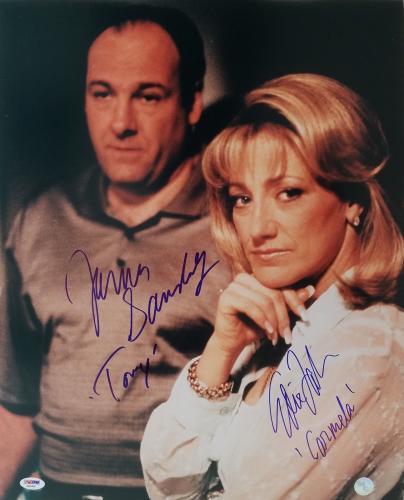 "James Gandolfini ""Tony"" & Edie Falco ""Carmela"" Signed Sopranos 16x20 Photo PSA"