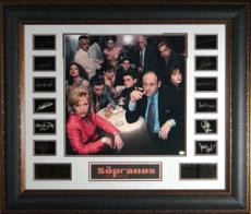 James Gandolfini unsigned Engraved Signature Series 36x31 Premium Leather Framed w/ Sopranos Cast Photo (entertainment)