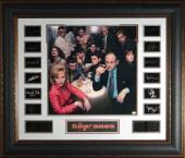 James Gandolfini unsigned Engraved Signature Series 36x31 Premium Leather Framed w/ Sopranos Cast Photo (entertainment)