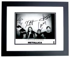 James Hetfield, Lars Ulrich, Kirk Hammett, and Jason Newsted Signed - Autographed METALLICA Drummer Concert 8x10 inch Photo BLACK CUSTOM FRAME - Guaranteed to pass PSA or JSA