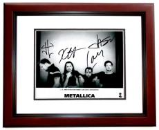 James Hetfield, Lars Ulrich, Kirk Hammett, and Jason Newsted Signed - Autographed METALLICA Drummer Concert 8x10 inch Photo MAHOGANY CUSTOM FRAME - Guaranteed to pass PSA or JSA