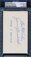 James Jimmy Braddock Psa/dna Certed Signed 3x5 Index Autograph Authentic