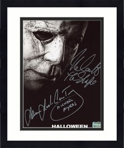 """James Jude Courtney """"Michael Myers"""" and Nick Castle """"Michael Myers"""" Signed Halloween 8x10 Photo"""