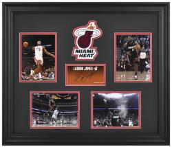 LeBron James Miami Heat 4-Photograph Framed Collage with Facsimile Signature & Logo-Limited Edition of 1000 - Mounted Memories