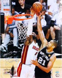 LeBron James Miami Heat 2013 NBA Champions Autographed 16'' x 20'' The Block Photograph with 2013 NBA Champs - Limited Edition of 25