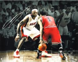 LeBron James Miami Heat Autographed 16'' x 20''Photograph vs. Derrick Rose - Mounted Memories