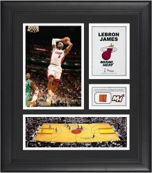 LeBron James Miami Heat Framed 15'' x 17'' Collage with Team-Used Ball - Mounted Memories