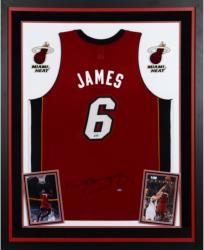 Lebron James Miami Heat Autographed Deluxe Framed Adidas Red Jersey