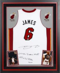 Lebron James Miami Heat Autographed Deluxe Framed Adidas White Jersey with Multiple Inscriptions-Limited Edition of 25